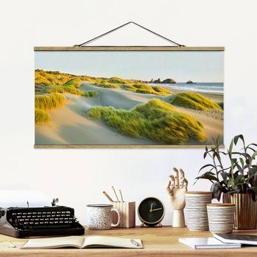 Foto su tessuto da parete con bastone - Dune ed erbe Al Mare - Orizzontale 1:2