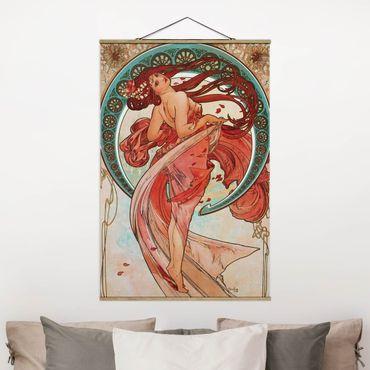Foto su tessuto da parete con bastone - Alfons Mucha - Quattro arti - la danza - Verticale 3:2