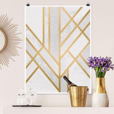 Poster - Art Deco Geometria oro bianco - Verticale 4:3