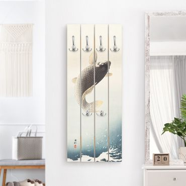Appendiabiti in legno - Vintage illustrazione Asiatici pesce II - Ganci cromati - Verticale