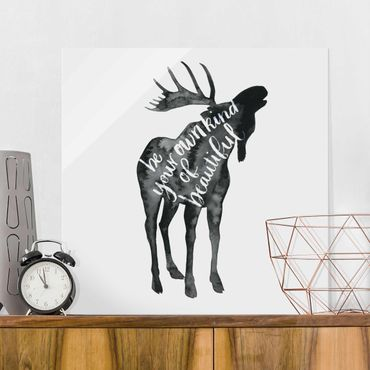 Quadro in vetro - Animals With Wisdom - Elk - Quadrato 1:1