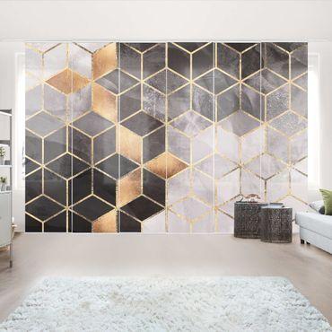 Tende scorrevoli set - Elisabeth Fredriksson - Bianco e oro Geometria Nero - 6 Pannelli