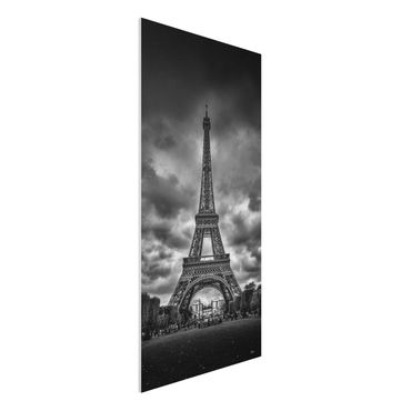 Quadro in forex - Torre Eiffel Davanti Nubi In Bianco e nero - Verticale 1:2