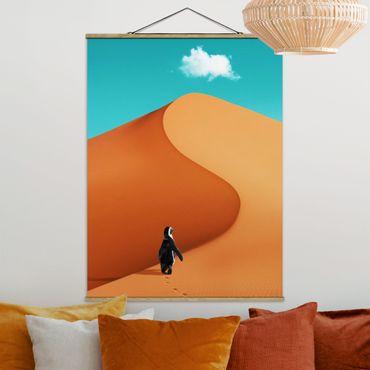 Foto su tessuto da parete con bastone - Deserto Con Penguin - Verticale 4:3
