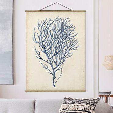 Foto su tessuto da parete con bastone - Indigo Coral III - Verticale 4:3