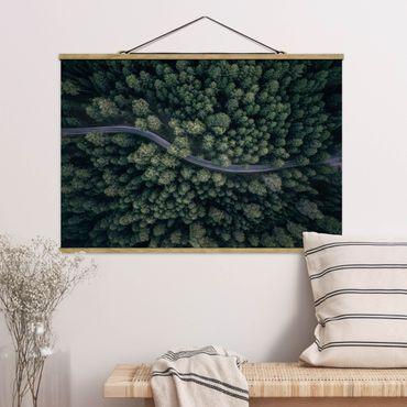 Foto su tessuto da parete con bastone - Veduta aerea - Forest Road From The Top - Orizzontale 2:3