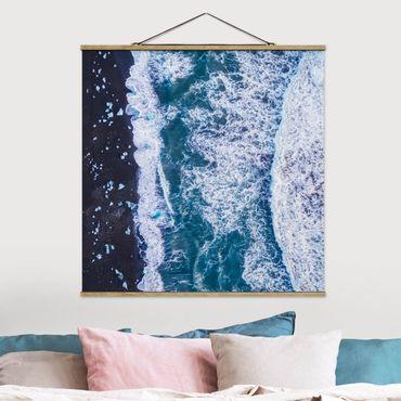 Foto su tessuto da parete con bastone - Veduta aerea - Jökulsárlón in Islanda verticalmente - Quadrato 1:1