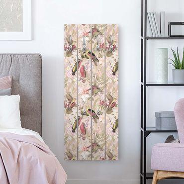 Appendiabiti in legno - Uccelli rosa pastello con i fiori - Ganci cromati - Verticale