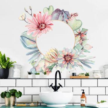 Adesivo murale - Acquerello Fiore di cactus Corona Oro XXL