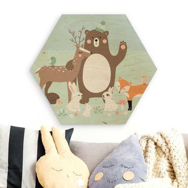 Esagono in legno - Foresta Amici Con Blu Forest Animals