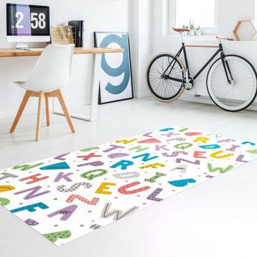 Tappeti in vinile - Alfabeto con cuori e puntini colorati - Verticale 1:2