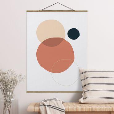Foto su tessuto da parete con bastone - Line Art Circles Pastello - Verticale 4:3