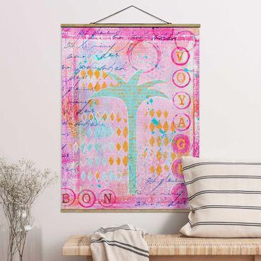 Foto su tessuto da parete con bastone - Colorato collage - Bon Voyage Con La Palma - Verticale 4:3