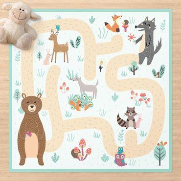 Tappeti in vinile - Tappetino educativo animali - Amici sul sentiero nel bosco - Quadrato 1:1