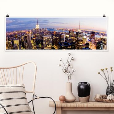 Poster - Skyline di New York At Night - Panorama formato orizzontale