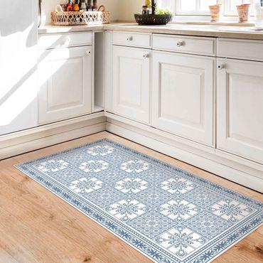 Tappeti in vinile - Trama di piastrelle floreali grigio-azzurro con bordo - Verticale 1:2