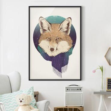 Poster con cornice - Illustrazione Fox Luna Viola Turchese - Verticale 4:3