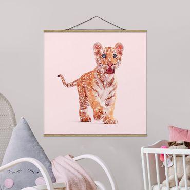 Foto su tessuto da parete con bastone - Tiger con glitter - Quadrato 1:1