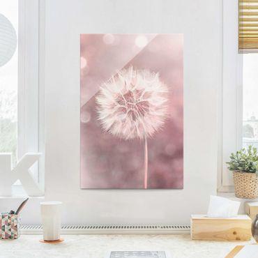 Quadro in vetro - Dandelion rosa bokeh - Verticale 3:2
