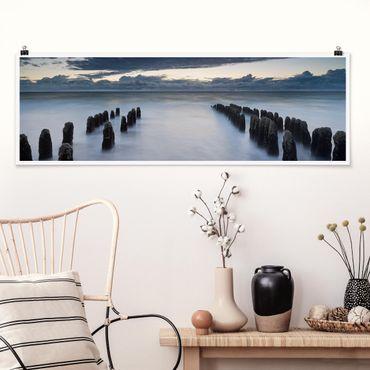 Poster - Sopraflutto in legno nel Mare del Nord a Sylt - Panorama formato orizzontale