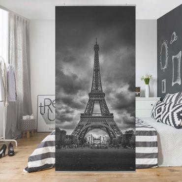 Tenda a pannello - Torre Eiffel Davanti Nubi In Bianco e nero - 250x120cm