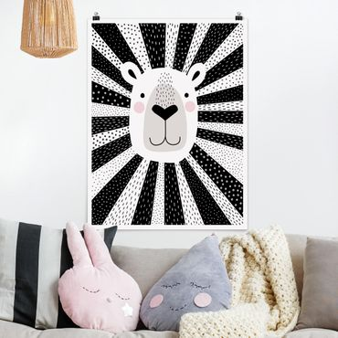 Poster - Zoo con Patterns - Lion - Verticale 4:3