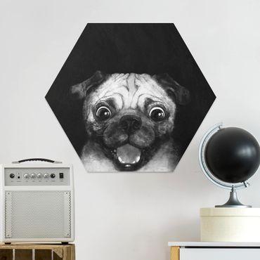 Esagono in forex - Illustrazione Pug Dog Pittura Su Bianco e nero