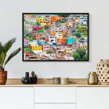 Poster con cornice - Colored Houses Front Guanajuato - Orizzontale 3:4