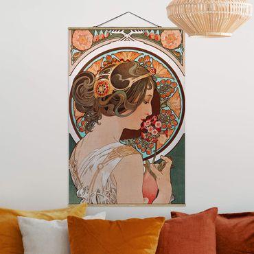 Foto su tessuto da parete con bastone - Alfons Mucha - Primrose - Verticale 3:2