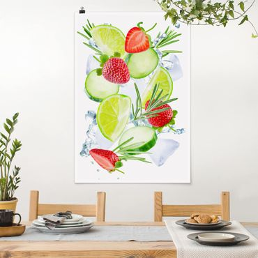 Poster - Fragole Lime Ice Cubes Splash - Verticale 3:2