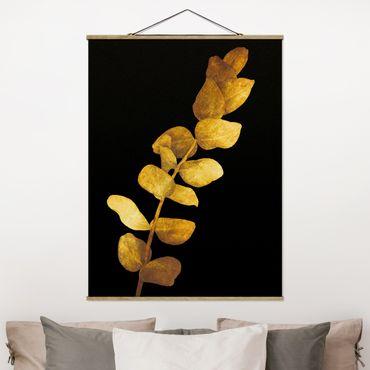 Foto su tessuto da parete con bastone - Gold - Eucalyptus On Black - Verticale 4:3