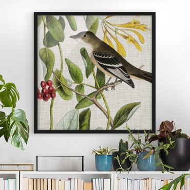 Poster con cornice - Bird On Linen Yellow II - Quadrato 1:1