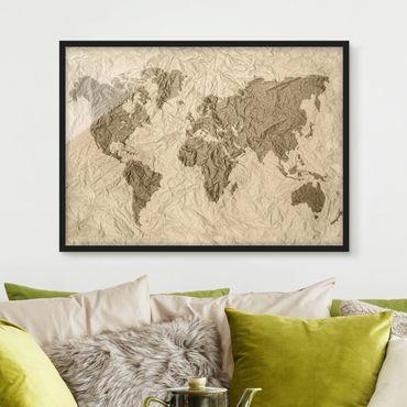 Poster con cornice - Paper World Map Beige Brown - Orizzontale 3:4