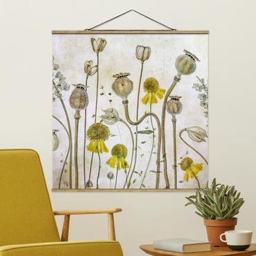 Foto su tessuto da parete con bastone - Papavero e Helenium - Quadrato 1:1