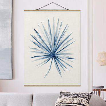 Foto su tessuto da parete con bastone - Disegno tropicale Palma a Indigo - Verticale 4:3
