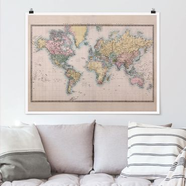 Poster - Mappa del mondo Vintage 1850 - Orizzontale 3:4