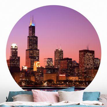 Carta da parati rotonda autoadesiva - Chicago skyline