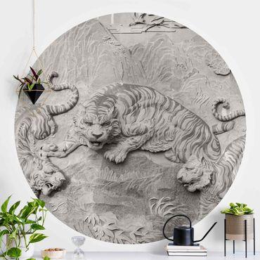 Carta da parati rotonda autoadesiva - Chinoiserie Tiger nel look pietra