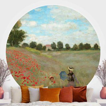 Carta da parati rotonda autoadesiva - Claude Monet - Campo di papaveri a Argenteuil