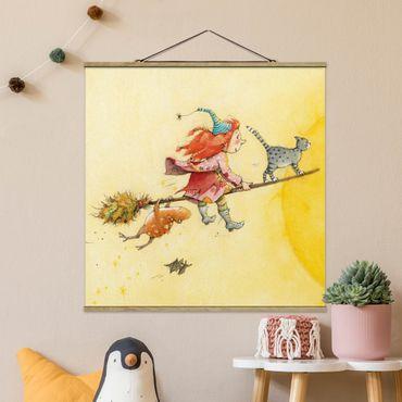 Foto su tessuto da parete con bastone - Frida E Gatto Pumpernickel - Quadrato 1:1