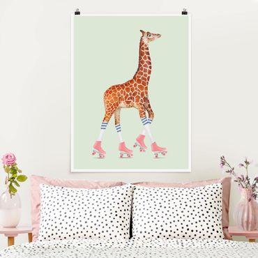 Poster - Giraffa con Pattini a rotelle - Verticale 4:3