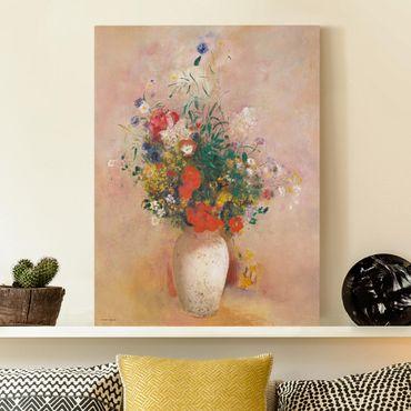 Quadri su tela - Odilon Redon - Vaso con fiori (colore sfondo rosa)