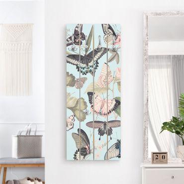 Appendiabiti in legno - Vintage Collage - farfalle e libellule - Ganci neri - Verticale