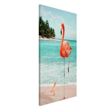 Lavagna magnetica - Spiaggia Con Flamingo - Formato verticale 4:3