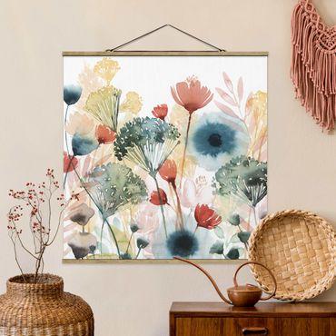 Foto su tessuto da parete con bastone - Wildflowers In estate ho - Quadrato 1:1