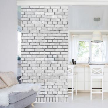 Tende scorrevoli set - Brick Wallpaper White London