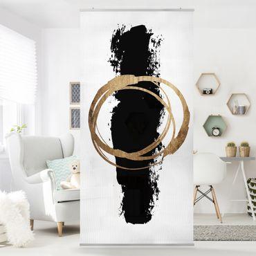 Tenda a pannello - Forme astratte - oro e nero - 250x120cm