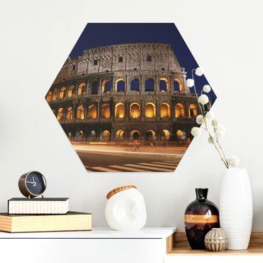 Esagono in Alluminio Dibond - Colosseo a Roma di notte