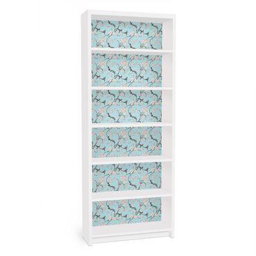 Carta adesiva per mobili IKEA - Billy Libreria - Bright Blue floral pattern