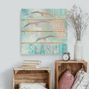 Stampa su legno - Shabby Chic Collage - Gabbiani - Quadrato 1:1